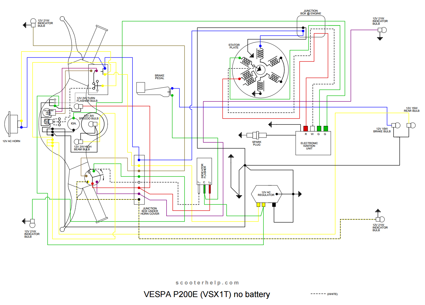 Vespa Px200e Wiring Diagram P200e Page 3 And Schematics 1978 Piaggio 1981