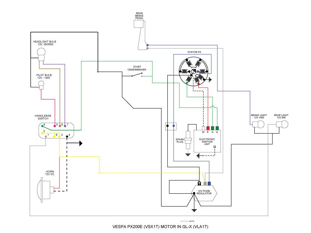 vespa glx met p200e motor electriciteits problemen - oldies